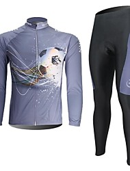 XINTOWN Men's Football Quick Dry Moisture Absorption Long Sleeve Cycling Suit—White+Gray