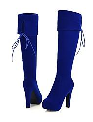 plataforma sapatos bico redondo salto robusto das mulheres reunindo-se sobre o joelho botas mais cores disponíveis