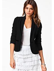 de las mujeres de cuello sastre color sólido de manga larga traje de chaqueta