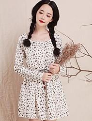 Women's Fresh Cotton Elastic Rope Broken Flower Long Sleeve Dress