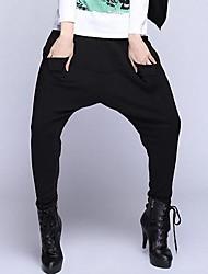 Women's Black Loose/Harem Pants , Vintage/Casual/Plus Sizes