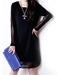 OuSiXiu Grenadine Long Sleeve Bottoming Dress