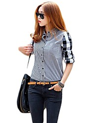 Womens Button Down Casual Lapel Shirt Long Sleeve Plaid Shirts Checks Shirt Top Blouse