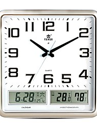 "POWER™ 14""H Upscale Style Rectangle Shape LED Perpetual Calendar Temperature Music Super Mute Wall Clock"