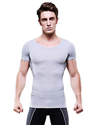 Summer Men Slimming Body Shaper Short Sleeve Shirt Tummy Control Underwear Firm Belly Bust Gray NY103