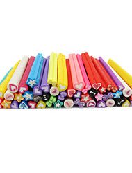 50PCS 3D Love Theme Cute FIMO Canes Rods Nail Art Decoration