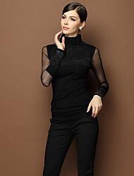Women's Slim High Collar Elastic Shirt