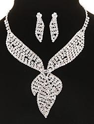 clásica forma de la hoja diamanted conjunto de joyas de plata (collar&pendientes) (1 juego)