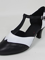 Non Customizable Women's Dance Shoes Swing Shoes Leather Flared Heel Black