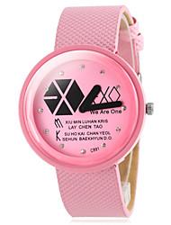 relógio de forma padrão geométrico pu banda de pulso de quartzo das mulheres (cores sortidas)