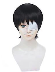 Cosplay Perücken Tokyo Ghoul Ken Kaneki Schwarz Kurz Anime Cosplay Perücken 30 CM Hitzebeständige Faser Mann