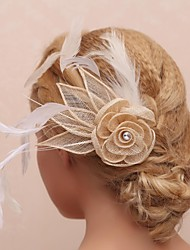 Gorgeous Tulle And Feather Bridal Flower Headpiece