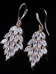 noble motif de feuille de la mode des femmes diamante entièrement boucles d'oreilles
