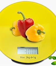 grafiek gehard glas digitale keukenweegschaal 2000g / 1g, roestvrijstalen 16x16x2.6cm