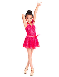 Kids' Dancewear Dresses Children's Training Spandex Sequined Tulle Ruffles Sequins Sleeveless Natural