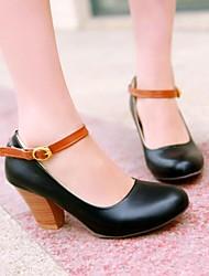 zapatos de las mujeres de las bombas del dedo del pie zapatos de tacón grueso ronda más colores disponibles