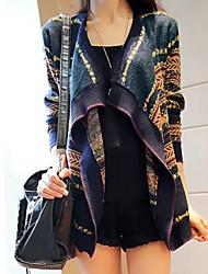 kissties moda de manga larga de manga larga chaqueta de punto estampado floral superior