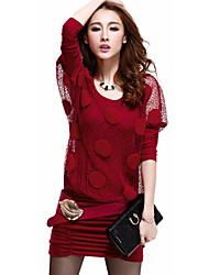 vestido de manga media longitud de cuello redondo de las mujeres dak