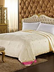 Summer Beige Floral Silk Comforter