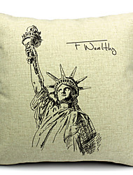 statue de la liberté coton / lin taie d'oreiller décoratif