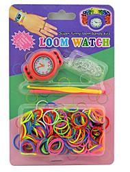 tear relógios super divertido bandas kits cor do arco-íris tear 200 bandas e 12 s-clips 2 ferramentas