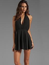 Women's V-Neck Off Shoulder Mini Black Dresses