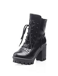 Damenschuhe Mode Blockabsatz Mitte der Wade Stiefel mit Spitzen-up mehr Farben erhältlich