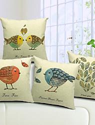 ensemble de 4 pays beaux oiseaux coton / lin taie d'oreiller décoratif