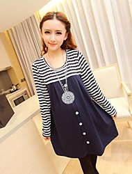 Maternity Round Collar Stitching Stripes Single Breasted Long Sleeve Dress