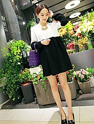 Maternity Fashion Round Collar Stitching Contrast Color Ruffled Lantern Long Sleeve Blouse