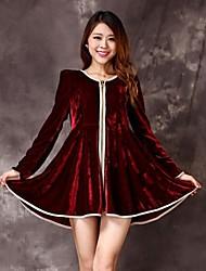 Women's Round Ruffle Plus Size Pleuche Zipper Dress
