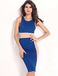 Женские Голубые Панели кузова любящих Midi платье с сеткой
