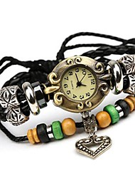 Women's Vintage  Beaded Leather Bracelet Watch