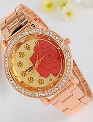 Women's Rhinestone Flower Rose Gold Watch