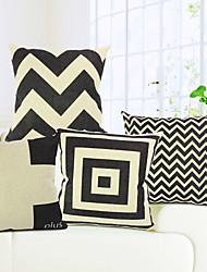 ensemble de 4 géométrique coton / lin taie d'oreiller décoratif moderne