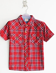 Boy's Short-Sleeved Striped Cotton Casual Clothing Plaid Shirt