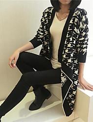 Women's Black/White Cardigan , Casual Long Sleeve