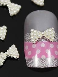 10st witte parel strik 3d diy legering nail art decoratie