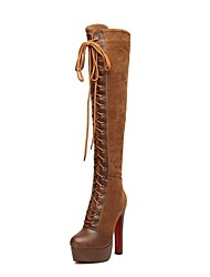 Women's Shoes Fashion Boots Chunky Heel Suede Over The Knee Boots with Lace-up and Zipper More Colors available