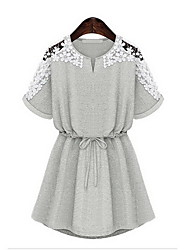GGN Women's Short Sleeve Jacquard Lace Dress