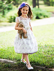 Ball Gown Knee-length Flower Girl Dress - Silk