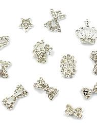 12pcs 3D Princess-like Rhinestone Studded Silver Nail Art Decoration(Random Pattern)