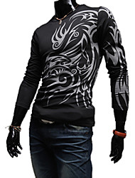 LangTuo European Fashion Round Collar Tattoo Long Sleeve T Shirt(Black)