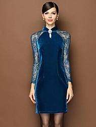 Women's Collar Sweet Slim Long Sleeve Dresses
