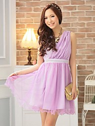Women's Fashion And Elegant Goddess Type Single Shoulder Pompon Dresses
