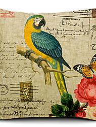 Parrot Painting Cotton/Linen Decorative Pillow Cover