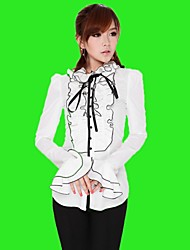 Women's Solid White Blouse , Ruff Collar Long Sleeve Ruffle/Bow
