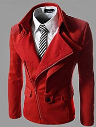 Men's Long Sleeve Casual / Work / Formal Jacket,Polyester / Cotton Blend Solid Red / Gray