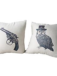 set von 2 schießen die Eule Baumwolle / Leinen dekorative Kissenbezug