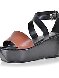 bc Freizeit Leder Frauen Sandalen mit Keilabsatz